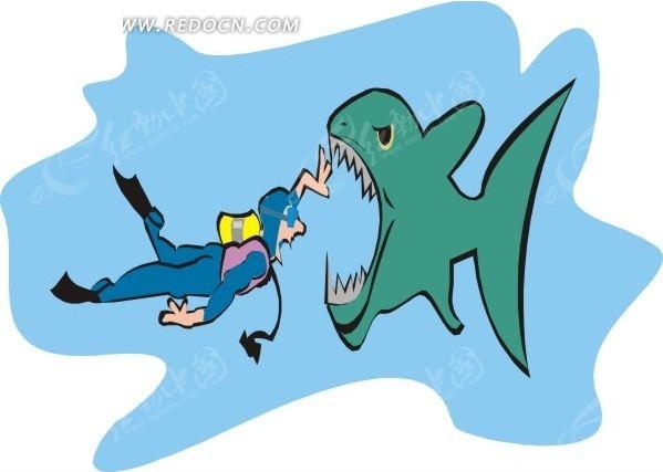 卡通人物 鲨鱼 潜水员 鱼 卡通画 插画 手绘 矢量素材 动物图片 卡通