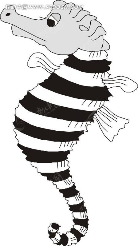 手绘黑白条纹的海马eps素材免费下载(编号1751397)_红