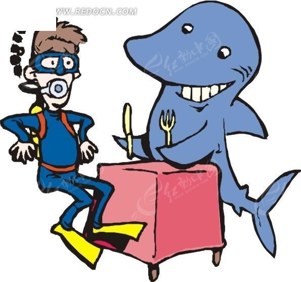 鱼 鲨鱼 卡通画 插画 手绘 矢量素材 动物图片 卡通形象 动物