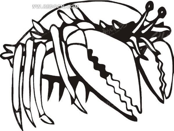 黑色手绘线描龙虾图案矢量图 水中动物