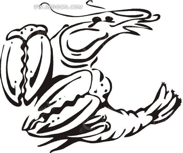 手绘黑色的线描龙虾