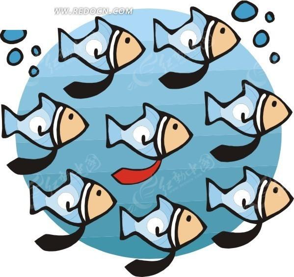 手绘插画水中游动的鱼群