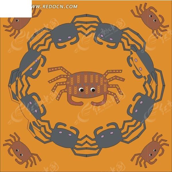 免费素材 矢量素材 生物世界 水中动物 螃蟹组成的圈  请您分享: 素材
