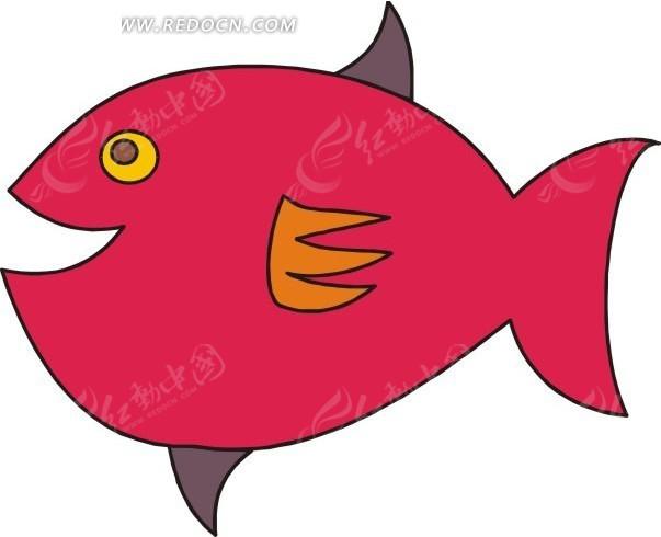 手绘一条胖胖的红色小鱼矢量图eps免费下载_水中动物