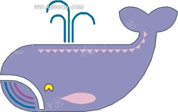 儿童手绘喷水的鲸鱼