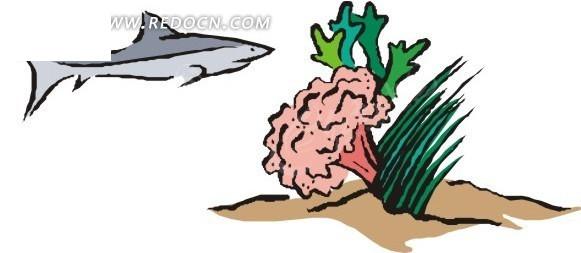 在珊瑚外围游弋的鲨鱼手绘素材矢量图_水中动物
