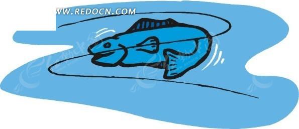 手绘蓝色底色上的一只线描小鱼