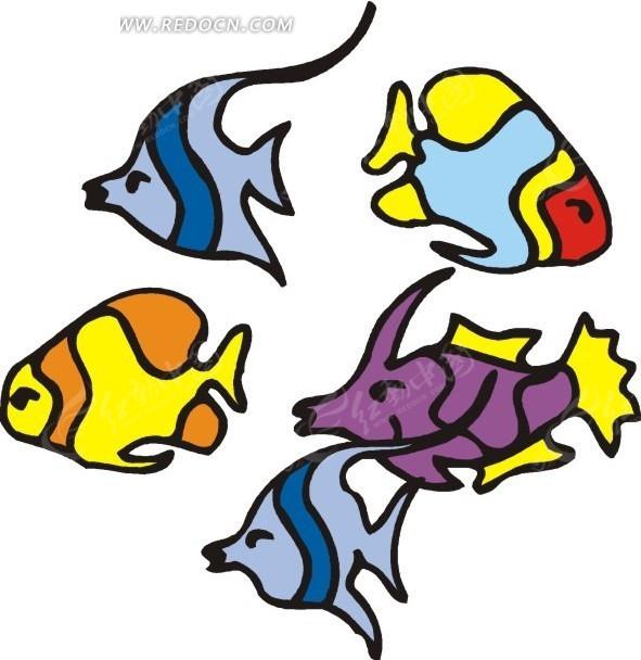手绘颜色多样的鱼类