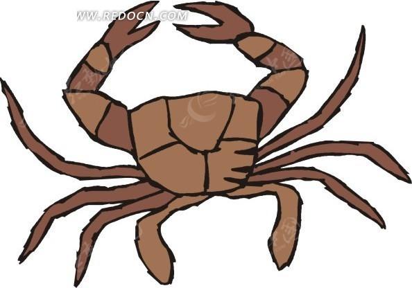 手绘一只褐色的大螃蟹