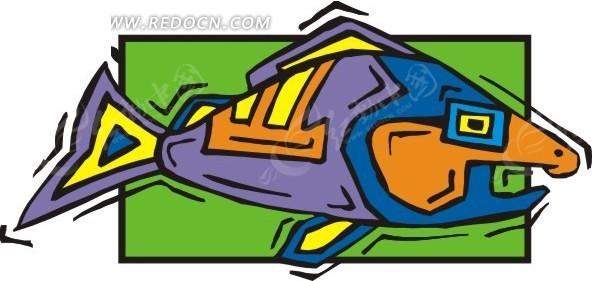 个性手绘七彩的鱼矢量图eps免费下载