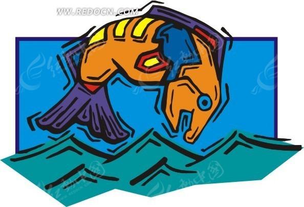 个性手绘跃出水面的鱼