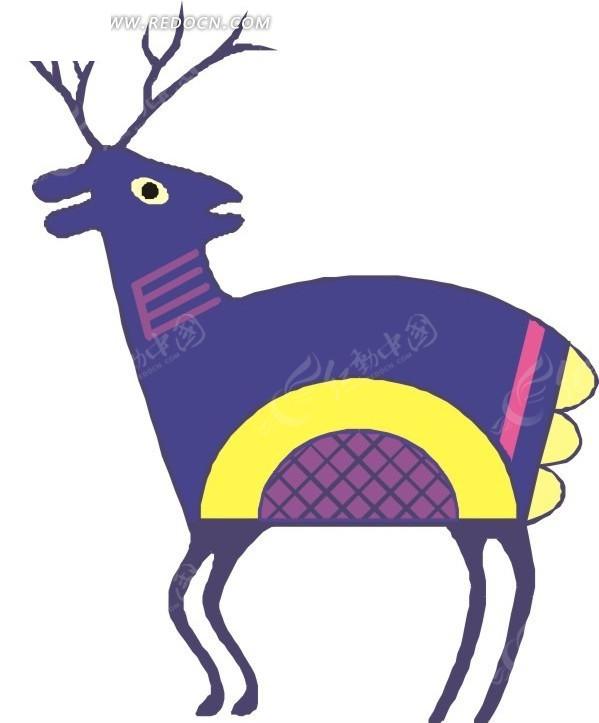手绘一只彩色的卡通小鹿