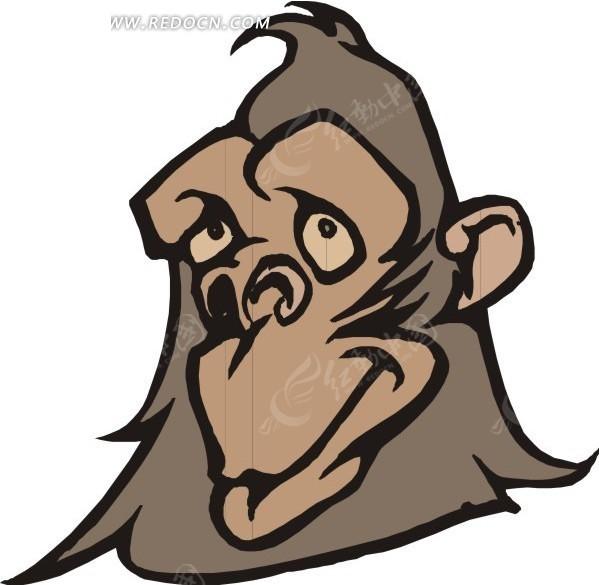 大猩猩头部特写矢量图_陆地动物