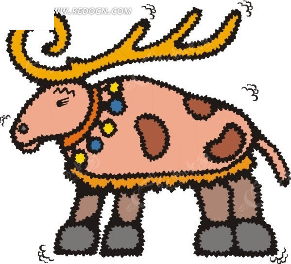 手绘插画粉色的鹿图片