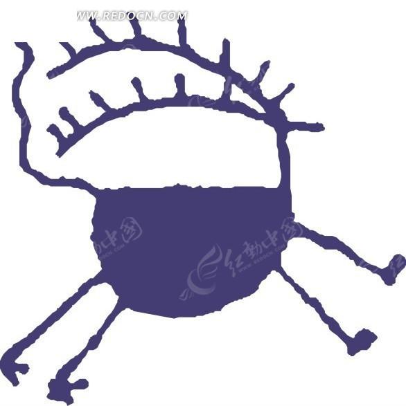 儿童手绘蓝紫色的鹿矢量图_陆地动物