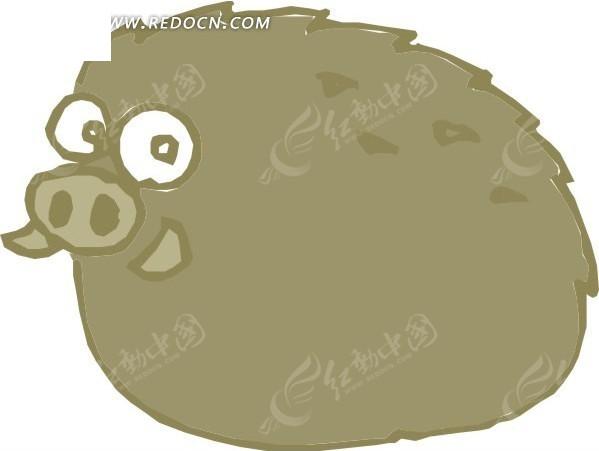 手绘一只大眼睛的小野猪矢量图_陆地动物
