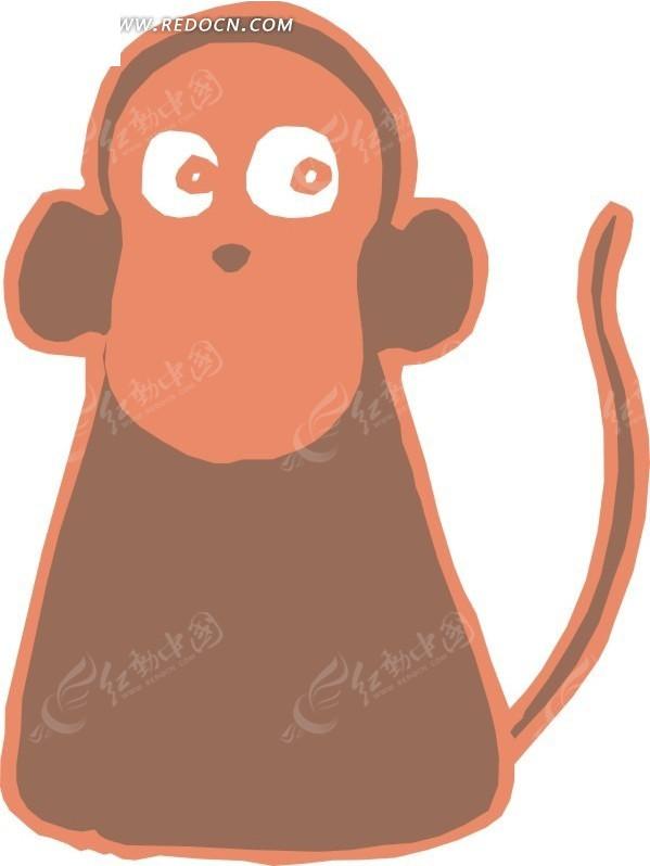 儿童简笔画小猴子矢量素材矢量图_陆地动物