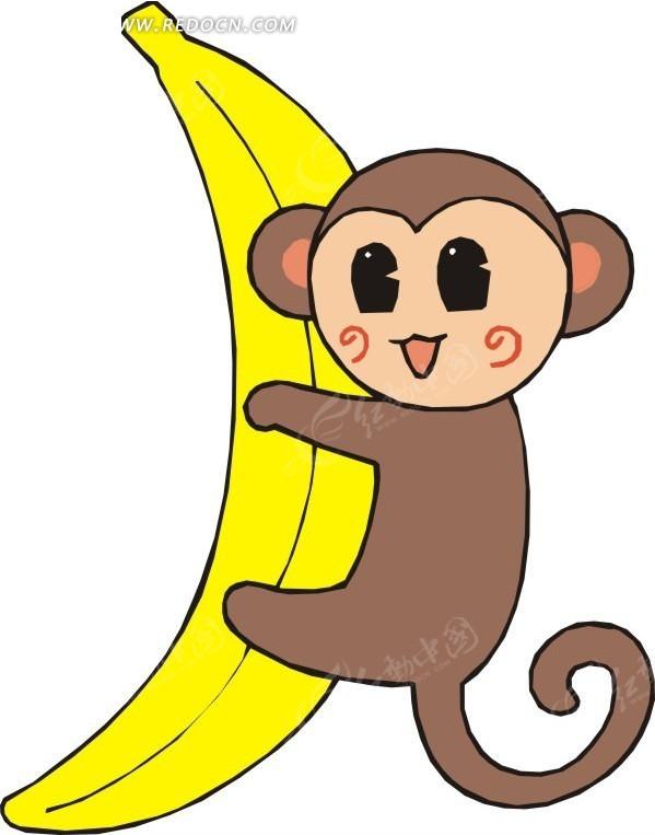 手绘抱着香蕉的小猴子