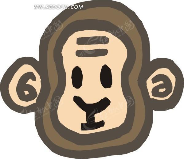 儿童手绘猴子头像矢量素材图片