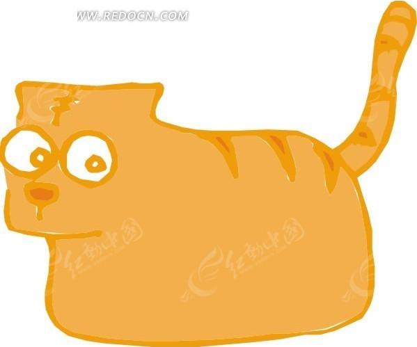手绘一只橙色的小老虎矢量图_陆地动物