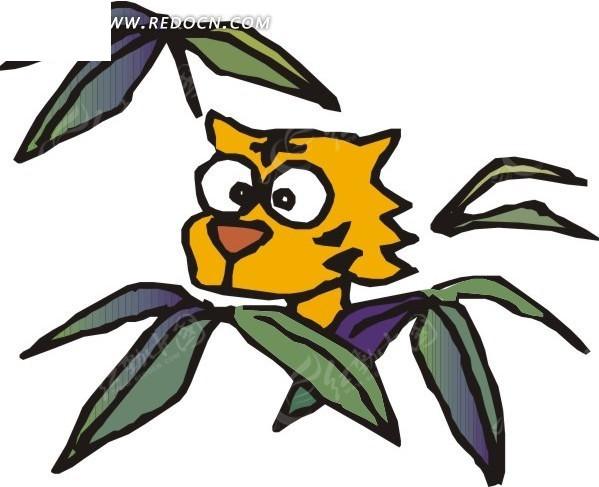 免费素材 矢量素材 生物世界 陆地动物 手绘用竹叶遮住身子的老虎