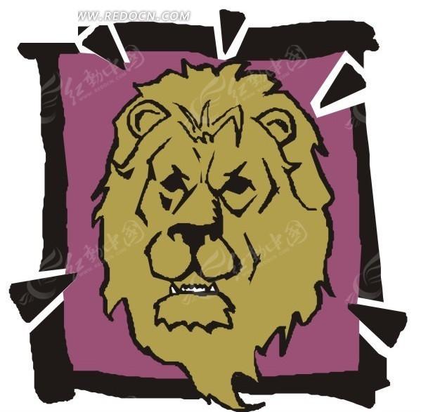 手绘棕色的狮子头像矢量素材