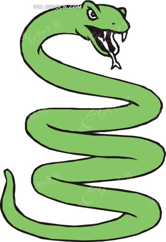 张着嘴巴的绿蛇卡通画图片