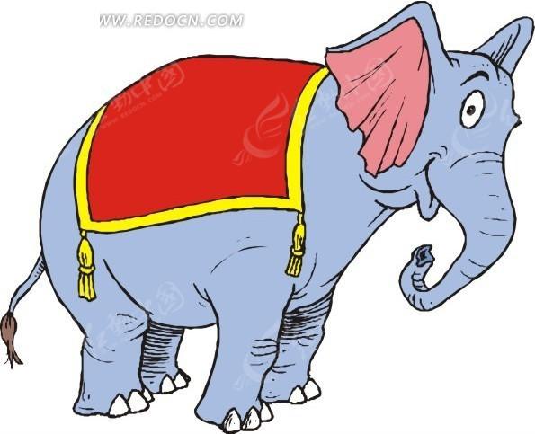 可爱的大象卡通画eps素材免费下载_红动网图片