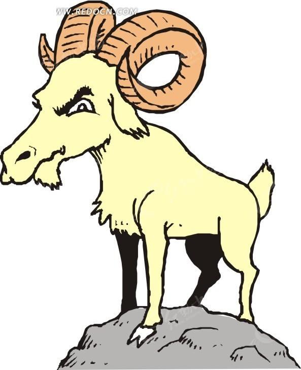石头  山羊 手绘  插画  卡通画  卡通形象 卡通动物 漫画素材 动物