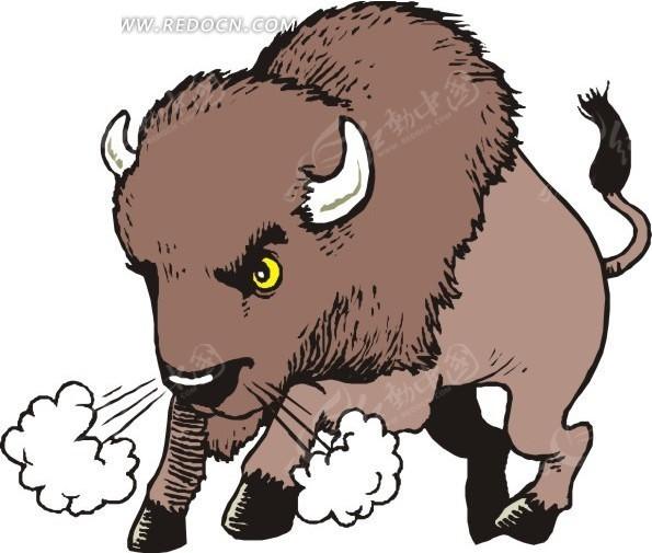 发怒的卡通斗牛