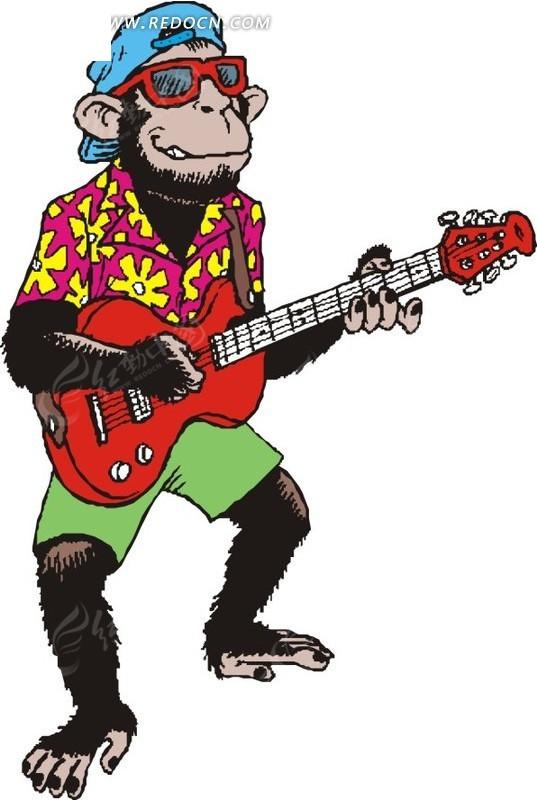 弹吉他的猴子插画