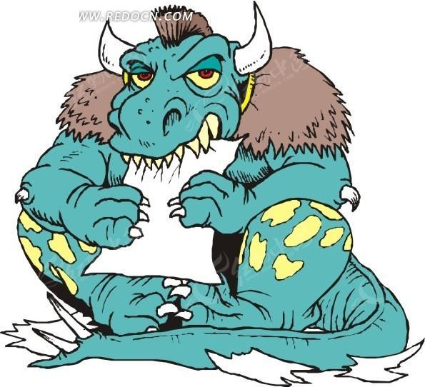 手绘坐着咬纸的恐龙