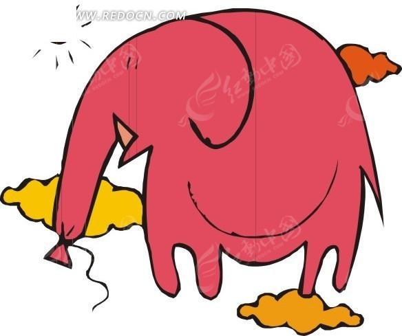 绑着鼻子的卡通大象矢量图
