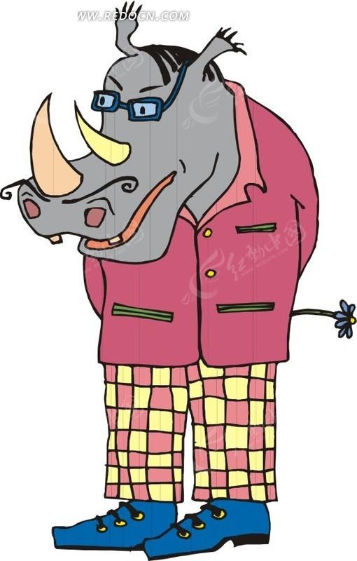 穿衣服犀牛卡通画