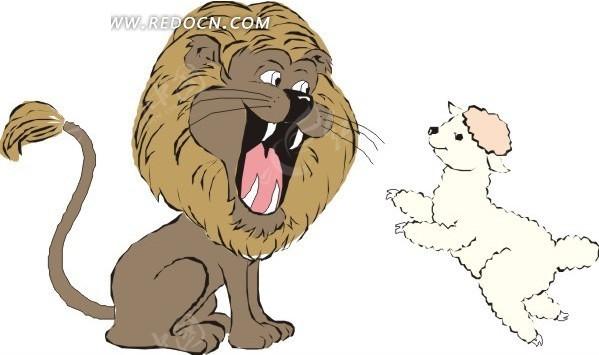 狮子与羊羔卡通画