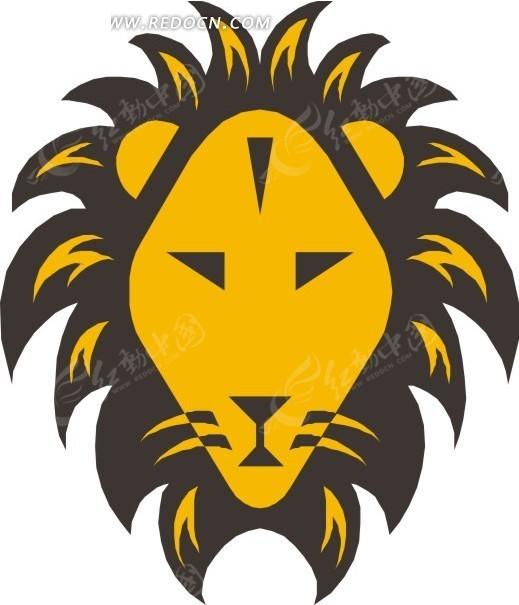 狮子头像  手绘  插画