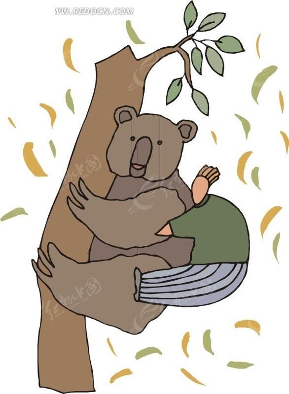 树  浣熊   人  手绘  插画  卡通画  卡通形象 卡通动物 漫画素材 动