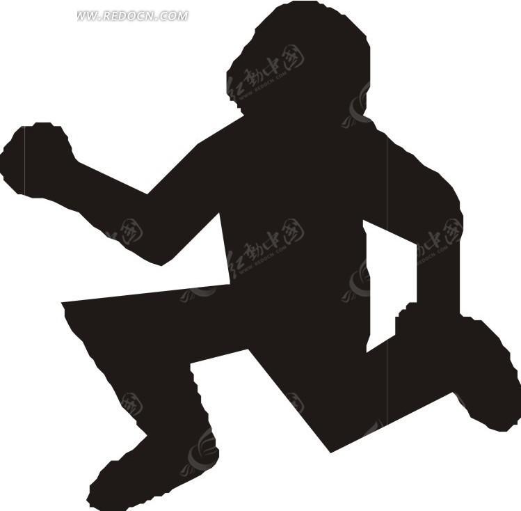 手绘跑步的人物剪影