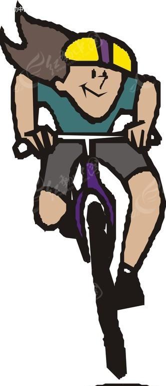 手绘骑自行车的女人