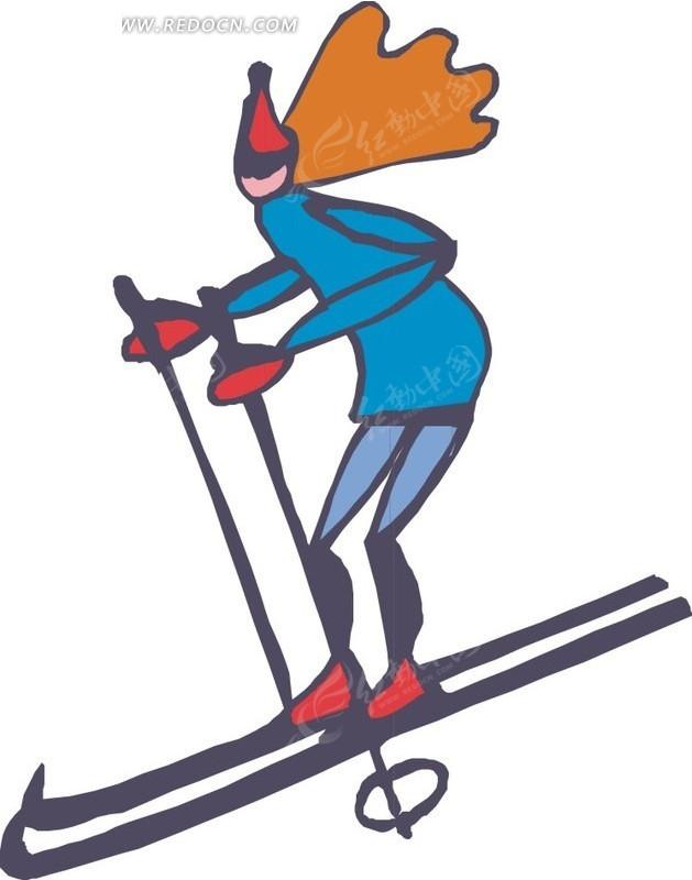 手绘滑雪的运动员