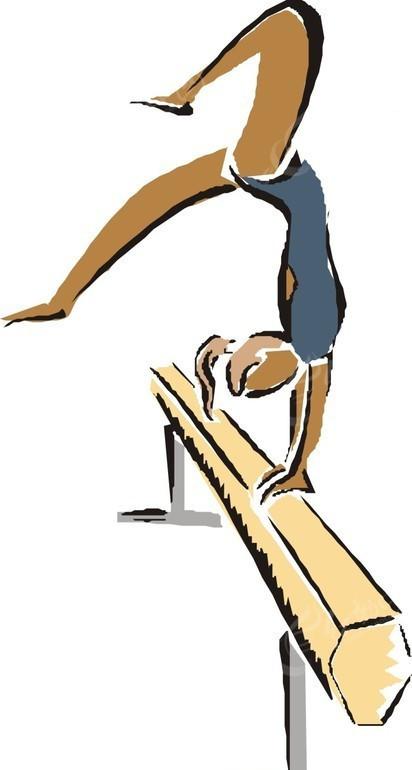 平衡木运动的卡通人物