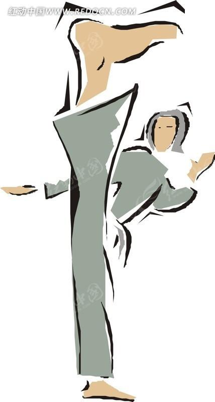 练武术踢腿的卡通女孩