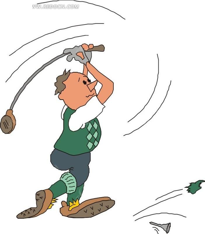 打飞高尔夫球钉的卡通人物