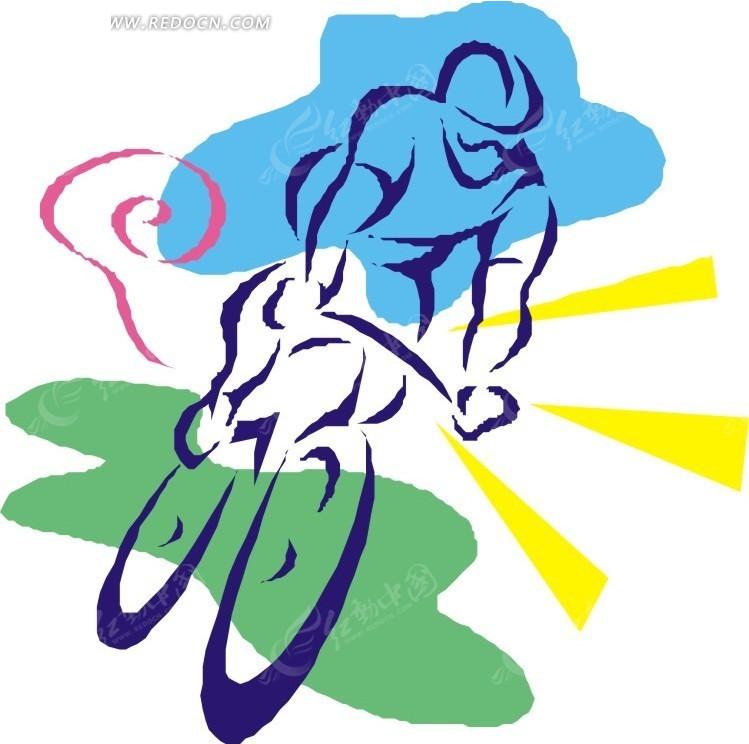 骑自行车飞驰的卡通人物矢量图 体育运动图片