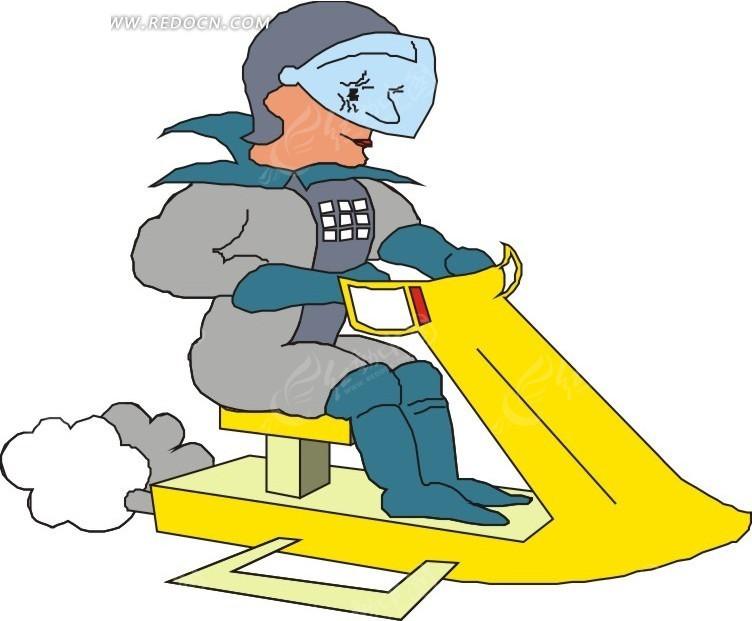 手绘坐在雪地摩托上的人