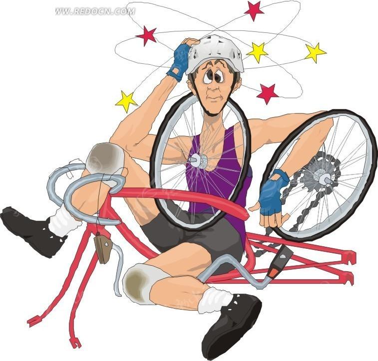 骑车摔倒的卡通人物矢量图 体育运动图片