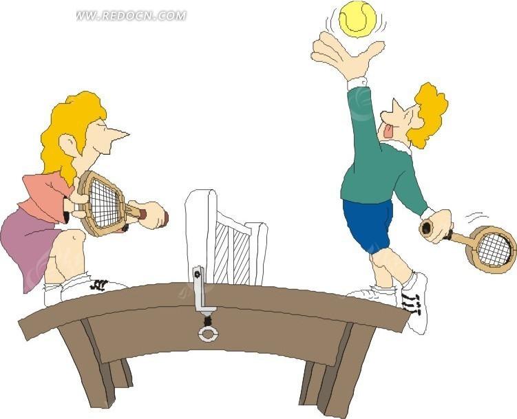 手绘站在球桌上打网球的人矢量图_体育运动