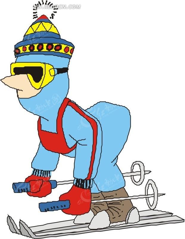穿滑雪服滑雪的卡通人物