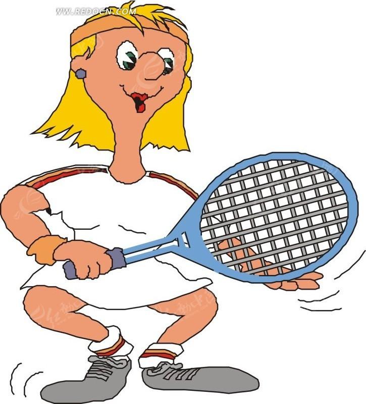 黄头发的卡通人物在网球运动矢量图