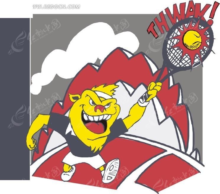 免费素材 矢量素材 生活百科 体育运动 手绘打网球的狮子